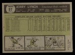 1961 Topps #97  Jerry Lynch  Back Thumbnail