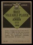 1961 Topps #476  Most Valuable Player  -  Jackie Jensen Back Thumbnail