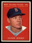 1961 Topps #476  Most Valuable Player  -  Jackie Jensen Front Thumbnail