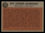 1962 Topps #163 GRN Hot Corner Guardians  -  Billy Gardner / Clete Boyer Back Thumbnail