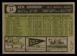 1961 Topps #24  Ken Johnson  Back Thumbnail