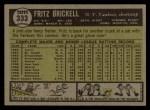 1961 Topps #333   Fritz Brickell Back Thumbnail
