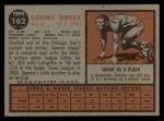 1962 Topps #162 A Sammy Drake  Back Thumbnail