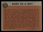 1962 Topps #135 A Babe as a Boy  -  Babe Ruth Back Thumbnail