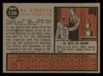 1962 Topps #126 A Al Cicotte  Back Thumbnail