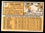 1963 Topps #243  Don Leppert  Back Thumbnail