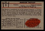 1953 Bowman #9   Marion Motley Back Thumbnail
