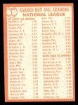 1964 Topps #1  1963 NL ERA Leaders  -  Sandy Koufax / Bob Friend / Dick Ellsworth Back Thumbnail