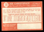1964 Topps #546   Joe Christopher Back Thumbnail