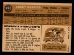 1960 Topps #393  Smoky Burgess  Back Thumbnail