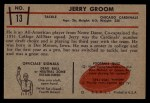 1953 Bowman #13   Jerry Groom Back Thumbnail