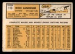 1963 Topps #113  Don Landrum's Card with Ron Santo's Picture  -  Don Landrum / Ron Santo Back Thumbnail