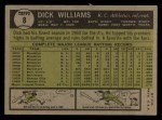 1961 Topps #8   Dick Williams Back Thumbnail
