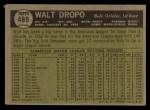 1961 Topps #489   Walt Dropo Back Thumbnail
