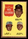 1962 Topps #58  NL Wins Leaders  -  Joe Jay / Warren Spahn / Jim O'Toole Front Thumbnail