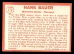 1964 #178  Hank Bauer  Back Thumbnail