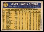 1970 Topps #691   Joe Grzenda Back Thumbnail