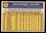 1970 Topps #223  Nate Oliver  Back Thumbnail