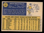 1970 Topps #666   Adolfo Phillips Back Thumbnail