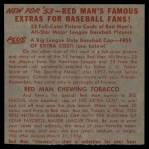 1953 Red Man #20 NLx Wes Westrum  Back Thumbnail