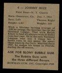 1948 Bowman #4  Johnny Mize  Back Thumbnail