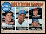 1968 Topps #9  1967 NL Pitching Leaders  -  Jim Bunning / Ferguson Jenkins / Mike McCormick / Claude Osteen Front Thumbnail