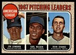 1968 Topps #10 ^COR^  -  Dean Chance / Jim Lonborg / Earl Wilson AL Pitching Leaders Front Thumbnail