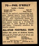 1948 Leaf #70  Phil O'Reilly  Back Thumbnail