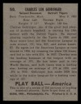 1939 Play Ball #50  Charlie Gehringer  Back Thumbnail