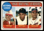 1969 Topps #2  1968 NL Batting Leaders  -  Pete Rose / Matty Alou / Felipe Alou Front Thumbnail