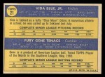1970 Topps #21   -  Gene Tenace / Vida Blue Athletics Rookies Back Thumbnail