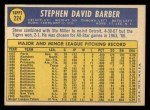 1970 Topps #224   Steve Barber Back Thumbnail