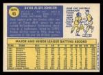 1970 Topps #45  Davey Johnson  Back Thumbnail