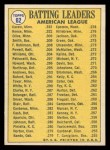 1970 Topps #62  AL Batting Leaders  -  Rod Carew / Tony Oliva / Reggie Smith Back Thumbnail
