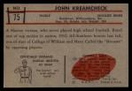 1953 Bowman #75   John Kreamcheck Back Thumbnail