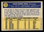1970 Topps #273   Ralph Houk Back Thumbnail