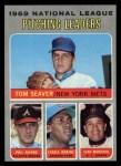 1970 Topps #69  1969 NL Pitching Leaders  -  Fergie Jenkins / Juan Marichal / Phil Niekro / Tom Seaver Front Thumbnail