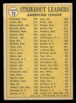 1970 Topps #72  AL Strikeout Leaders  -  Mickey Lolich / Sam McDowell / Andy Messersmith Back Thumbnail