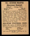 1948 Leaf #19 COR George McAfee  Back Thumbnail