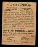 1948 Leaf #1 YEL Sid Luckman  Back Thumbnail