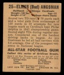 1948 Leaf #25 BLK Bud Angsman  Back Thumbnail