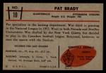 1953 Bowman #10  Pat Brady  Back Thumbnail