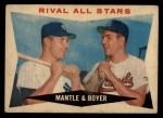 1960 Topps #160  Rival All-Stars  -  Mickey Mantle / Ken Boyer Front Thumbnail
