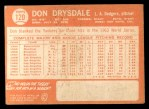 1964 Topps #120  Don Drysdale  Back Thumbnail