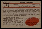 1953 Bowman #6  Doak Walker  Back Thumbnail