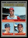 1970 Topps #72  AL Strikeout Leaders  -  Mickey Lolich / Sam McDowell / Andy Messersmith Front Thumbnail