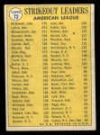 1970 Topps #72   -  Mickey Lolich / Sam McDowell / Andy Messersmith AL Strikeout Leaders Back Thumbnail