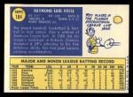1970 Topps #184  Ray Fosse  Back Thumbnail