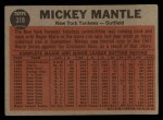 1962 Topps #318   -  Mickey Mantle The Switch Hitter Connects Back Thumbnail