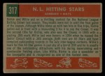 1959 Topps #317  NL Hitting Kings  -  Willie Mays / Richie Ashburn Back Thumbnail